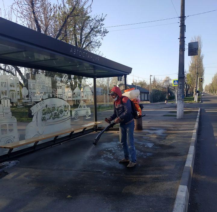В Добропіллі провели дезінфекцію вулиць та зупинок, фото-1