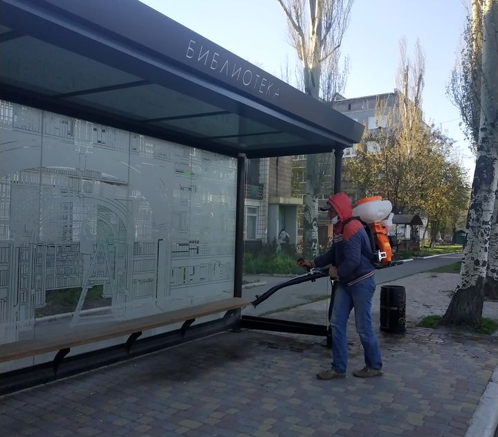 В Добропіллі провели дезінфекцію вулиць та зупинок, фото-4